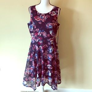 Elle floral lace flowy sleeveless dress blue pink